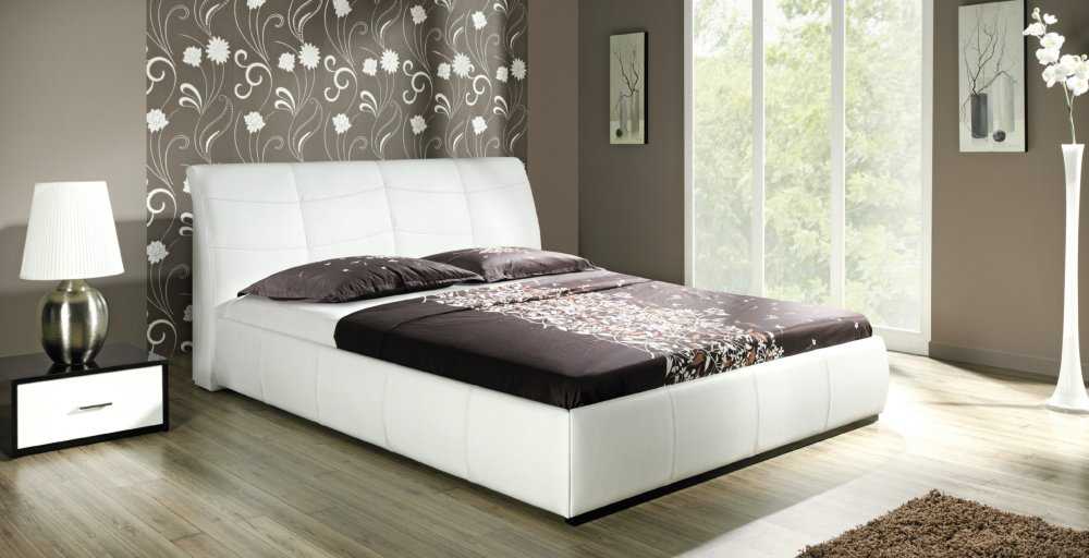 design luxus lounge polsterbett doppelbett futon bett leder wei sl03 neu ebay. Black Bedroom Furniture Sets. Home Design Ideas