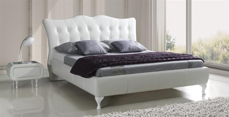 Bett weiß leder 180x200  Design Luxus Lounge Polsterbett Doppelbett Futon-Bett Leder Weiß ...