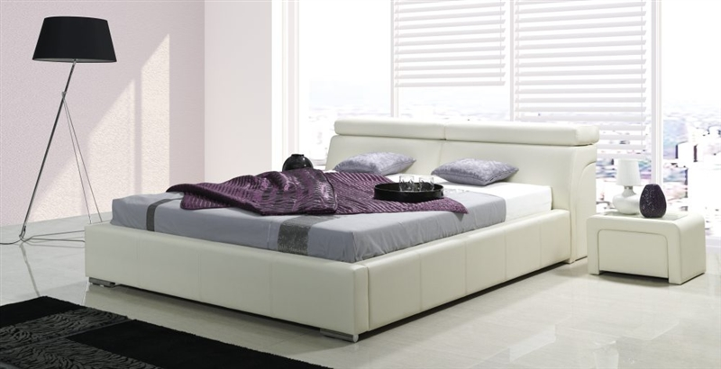 design luxus lounge polsterbett doppelbett futon bett leder wei sl27 neu ebay. Black Bedroom Furniture Sets. Home Design Ideas
