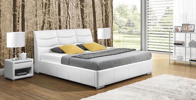 design luxus lounge polsterbett doppelbett futon bett leder wei sl32 neu ebay. Black Bedroom Furniture Sets. Home Design Ideas