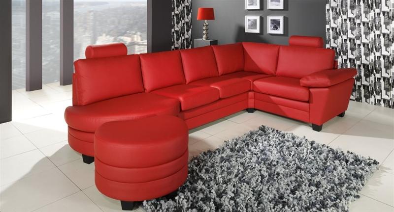 design luxus lounge sofa landschaft couch polster garnitur leder rot sl06 neu ebay. Black Bedroom Furniture Sets. Home Design Ideas