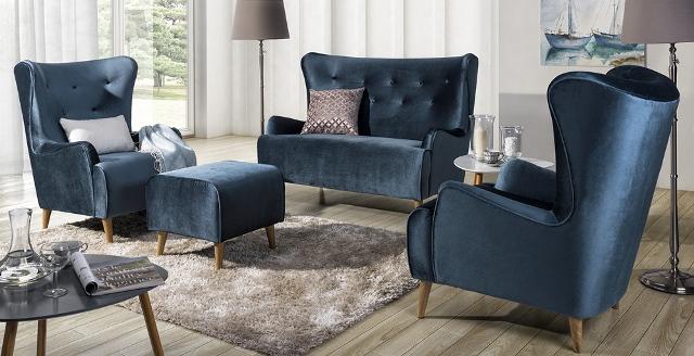 Design Luxus Lounge Sofa Landschaft Couch Polster Garnitur Stoff Blau Sl26 Neu Ebay