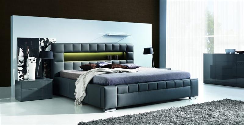 Design Luxus Lounge Polsterbett Doppelbett Futon-Bett Leder